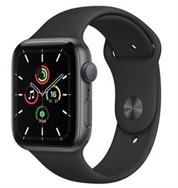 Apple Watch SE GPS 44mm Space Gray Aluminum Case with Black Sport Band (Спортивный ремешок черного цвета) MYDT2 - фото 4964