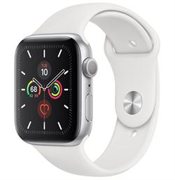 Apple Watch Series 5 GPS 44mm Silver Aluminum Case with White Sport Band (Спортивный ремешок белого цвета) MWVD2 - фото 5009