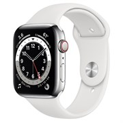 Часы Apple Watch Series 6 GPS+Cellular 44mm Silver Stainless Steel Case with White Sport Band
