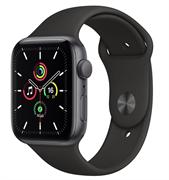 Apple Watch SE GPS 44mm Space Gray Aluminum Case with Black Sport Band (Спортивный ремешок черного цвета) MYDT2