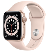 Apple Watch Series 6 GPS 44mm Gold Aluminum Case with Pink Sand Sport Band (Спортивный ремешок цвета розовый песок) M00E3