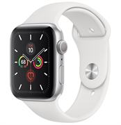 Apple Watch Series 5 GPS 44mm Silver Aluminum Case with White Sport Band (Спортивный ремешок белого цвета) MWVD2